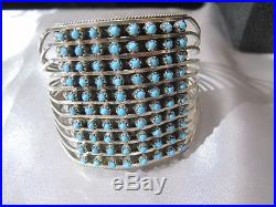 Zuni Turquoise Sterling Silver 10 Row Bracelet signed Handmade Stunning