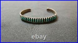 Zuni sterling silver turquoise needlepoint cuff bracelet